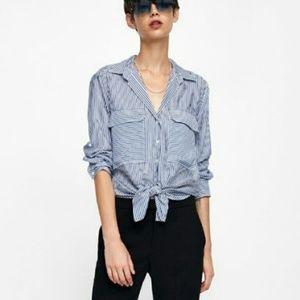 Zara Slouchy Striped Long Sleeve Light Blouse M